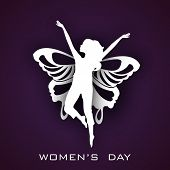 Happy Womens Day greeting card or poster design with white silhouette of a young girl in dancing pos