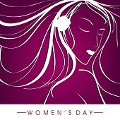 Happy Womens Day greeting card or poster design with illustration of a happy girl on purple background.