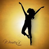 Happy Womens Day greeting card or poster design with black silhouette of a young girl in dancing pose on yellow background.