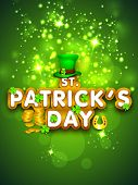 Happy St. Patrick's Day celebration poster, banner or flyer with stylish text on shiny green background.