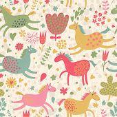 Joyful funny horses on flower meadow. Cute cartoon seamless pattern in vector. Seamless pattern