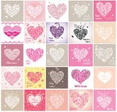 Greeting cards with lacy hearts