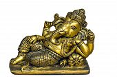 stock photo of laddu  - Golden Hindu God Ganesh over a white background - JPG