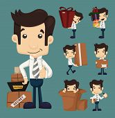 foto of fatigue  - Set of businessman moving office and packing in boxes characters poses eps10 vector format - JPG