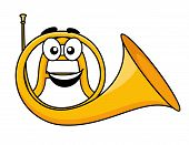 Cartoon illustration of a french horn
