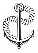 Nautical anchor with a coiled rope
