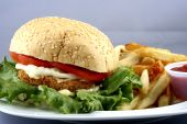 stock photo of fried chicken  - chicken burger and fries for lunch time meal - JPG