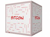 Bitcoin Word Cloud Concept On A 3D Cube Whiteboard