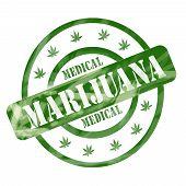 Green Weathered Medical Marijuana Stamp Circles And Stars