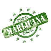 Green Weathered Medical Marijuana Stamp Circle And Stars Design