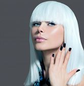 Fashion Vogue Style Model Portrait. Beauty Woman with White Hair and Black Nails. Beautiful Stylish