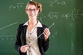 Teacher or docent in school holding a pointer in front of a blackboard in school class