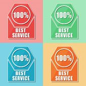Best Service 100 Percentages, Four Colors Web Icons