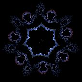 image of mandelbrot  - Abstract bluish ornamental shape on black background - JPG