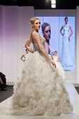 ZAGREB, CROATIA - FEBRUARY 15, 2014: Fashion models in wedding dresses on 'Wedding days'