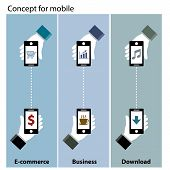 mobile concept  e-commerce , business , download