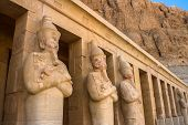 picture of hatshepsut  - A row of statues of Queen Hatshepsut as Osiris the god of the dead at her temple in Luxor  - JPG