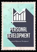 Personal Development on Blue in Flat Design.