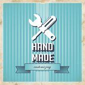 HandMade Concept on Blue in Flat Design.