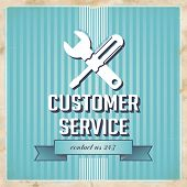 Customer Service Concept on Blue in Flat Design.