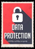 Data Protection on Red in Flat Design.