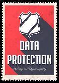 Data Protection Concept on Red in Flat Design.