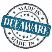 Made In Delaware Blue Round Grunge Isolated Stamp