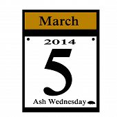 stock photo of lent  - 2014 lent calendar date icon for ash wednesday - JPG