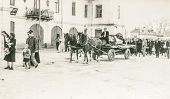 POLAND, CIRCA FORTIES - Vintage photo of funeral procession with a horse drawn hearse