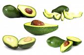 Set of avocados isolated on white background