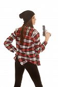 Woman In Beanie And Plaid Shirt Gun Up Side