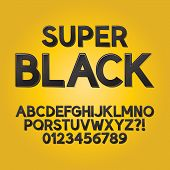 Abstract Black Shade Font And Numbers, Eps 10 Vector Editable