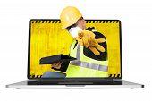 Contractor Inside Laptop