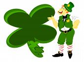 picture of fourleaf  - editable eps vector format tall irish leprechaun pointing at green fourleaf shamrock to use as a sign - JPG