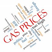 stock photo of mile  - Gas Prices Word Cloud Concept angled with great terms such as automobile pump costly gallon price and more - JPG