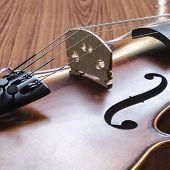 Violin On Wood Background
