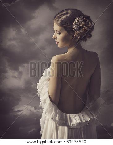 Woman Sensual Retro Portrait, Girl Naked Back, Elegant Artistic Vintage Style Makeup poster