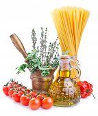 Spaghetti Ingredients Isolated On White