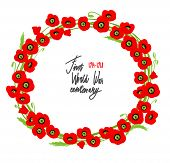 Red poppies wreath with place for text. Symbol of the fallen.