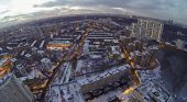 The Moscow city landscape an autumn evening, aerial view