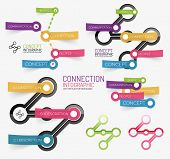 Vector connection theme word infographic of color transparent stickers with keywords