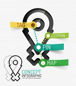 Navigation infographic keywords, line style. Modern flat paper design with tags or your options on t