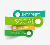 Vector social theme tag cloud of stickers - internet, social, media, technology