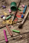 color paints, crayons and pencils