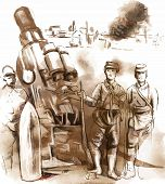 Soldiers Posing In Front Of A Large Howitzer (mortar). Vector.