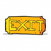 cartoon exit sign