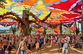 Ozora, Hungary - August 01: People Dancing On Ozora Festival, One Of The Greatest Psychedelic Music