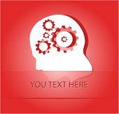 Human brain. Paper sticker as bookmark. Vector illustration. Eps10.