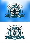 stock photo of trident  - Marine heraldic label with anchors - JPG