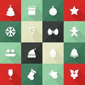 Christmas and New Year icons in flat design, with long shadows
